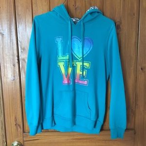 Turquoise XL love hoodie